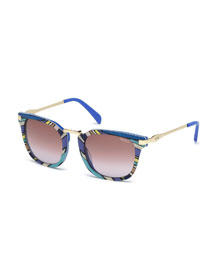 Patterned Gradient Square Sunglasses, Blue