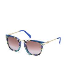 Patterned Gradient Square Sunglasses, Blue
