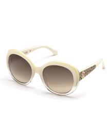 Tejat Two-Tone Round Sunglasses, Ivory