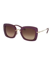 Trimmed Gradient Square Sunglasses, Amaranth