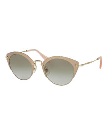 Trimmed Gradient Cat-Eye Sunglasses, Pink