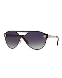 Gradient Shield Brow-Bar Sunglasses, Silver