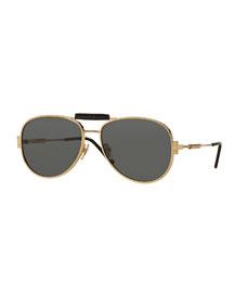 Leather-Trim Monochromatic Aviator Sunglasses, Gold/Gray