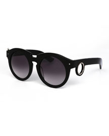 Berlin Gradient Round Sunglasses w/ Gauge Detail, Black