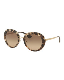 Round Gradient Plastic/Metal Sunglasses, Opal Brown