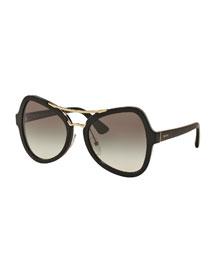 Gradient Oversized Aviator Sunglasses, Black