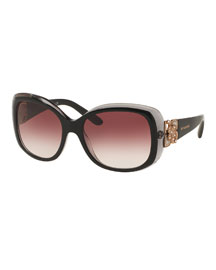 Universal-Fit Floral Butterfly Sunglasses, Black