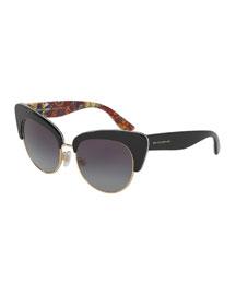 DNA Semi-Rimless Cat-Eye Sunglasses, Black