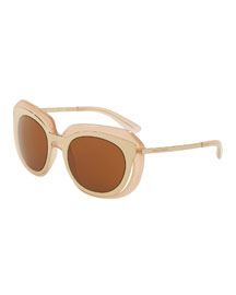DNA Metal-Inset Butterfly Sunglasses, Pink