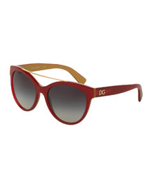 Universal-Fit Brow-Bar Sunglasses, Red
