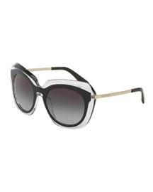 DNA Transparent-Trim Universal-Fit Sunglasses, Black