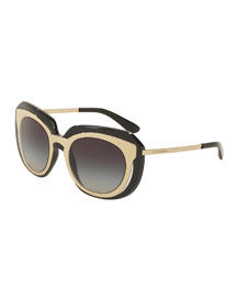 DNA Metal-Inset Butterfly Sunglasses, Black
