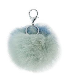 Two-Tone Fox Fur Pompom/Charm for Handbag, Light Blue Combo