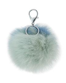 Two-Tone Fox Fur Pompom/Charm for Handbag, Light Blue Combo