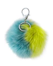 Two-Tone Fox Fur Pompom/Charm for Handbag, Yellow/Blue