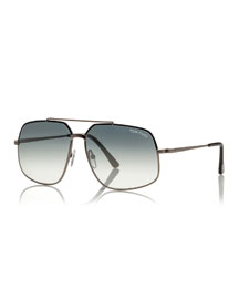 Ronnie Gradient Geometric Aviator Sunglasses, Light Gunmetal