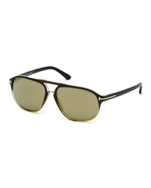 Jacob Monochromatic Aviator Sunglasses, Black/Honey