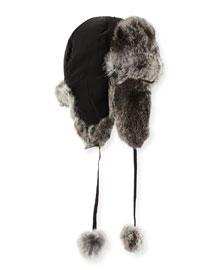 Rabbit Fur Trapper Hat, Gray
