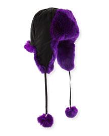 Rabbit Fur Trapper Hat, Purple