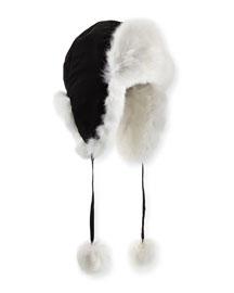Rabbit Fur Trapper Hat, Black/White
