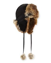 Rabbit Fur Trapper Hat, Brown