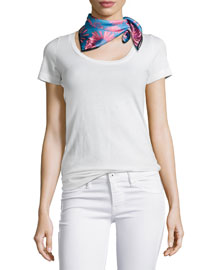 Daisies Mini Twill Square Scarf, Teal/Pink