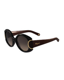 Round Leather-Trim Sunglasses, Black/Chocolate