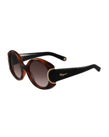 Round Leather-Trim Sunglasses, Havana/Black
