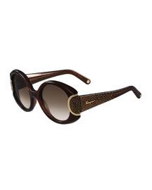 Round Gradient Rhinestone Sunglasses, Brown