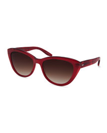 Graziana Cat-Eye Acetate Sunglasses, Crushed Heart