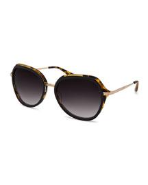 Leilani Round Sunglasses, Tortoise/Gold