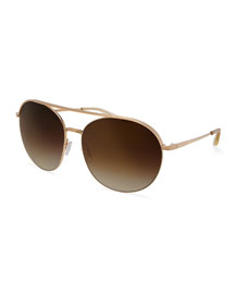 Luna Round Mirrored Sunglasses w/Brow Bar, Gold