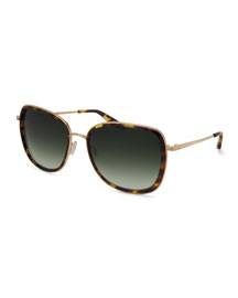 Tiegs Tortoise Square Sunglasses, Brown/Gold