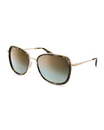 Tiegs Mirrored Square Sunglasses, Tortoise/Gold