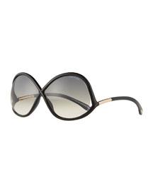 Gradient Wrap Sunglasses, Black