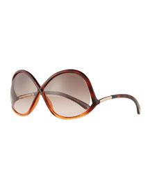 Gradient Wrap Sunglasses, Havana/Pink