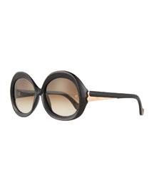 Round Acetate Sunglasses, Black