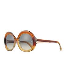 Round Acetate Sunglasses, Brown