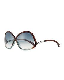 Gradient Wrap Sunglasses, Havana Blue