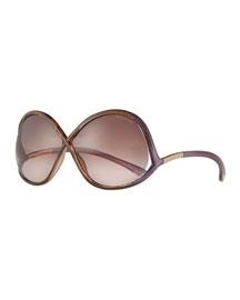 Gradient Wrap Sunglasses, Brown/Wine