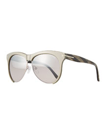 Dual-Rimmed Sunglasses, Gray