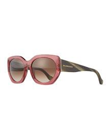 Square Two-Tone Acetate Sunglasses, Green/Red