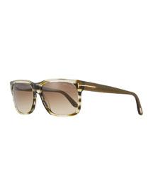 Square Striped Sunglasses, Dark Green