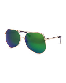 Megalast Oversized Aviator Sunglasses, Gold