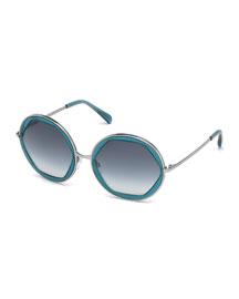 Round Geometric Sunglasses, Aqua
