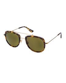 Breton Polarized Aviator Sunglasses, Blond Tortoise