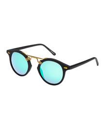 St. Louis Mirrored Round Sunglasses, Matte Black