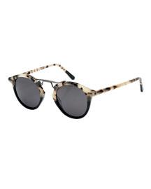 St. Louis Polarized Two-Tone Round Sunglasses, Oyster/Black