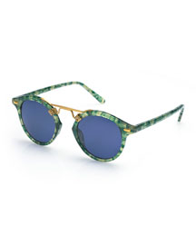 St. Louis Monochromatic Round Sunglasses, Ivy