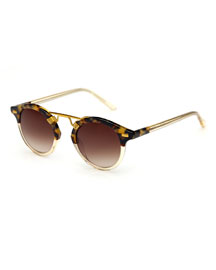 St. Louis Two-Tone Round Sunglasses, Champagne